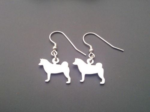 Akita earrings made by saw piercing sterling silver